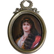 SALE Antique Miniature Portrait Painted on Porcelain in Brass Frame