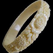 Ivory Colored Celluloid Bangle Bracelet