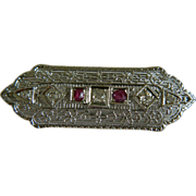 SALE 1920's Art Deco 10k White Gold Bar Brooch with 5 Old Miner Cut Diamonds and 2 Rubies