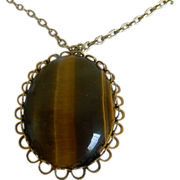 Beautiful Oval Tiger Eye Necklace Mid - Century