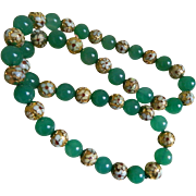SALE Vintage Cloisonne and Green Glass Beads