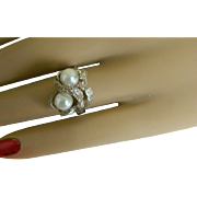 Sterling Silver Snake Ring with Faux Pearls, Size 6 1/4