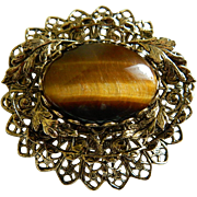 Beautiful Tiger Eye Gold Tone Brooch, Mid - Century
