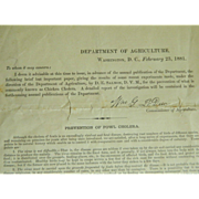 Chicken Cholera Document Issued by the Department of Agriculture, Washington, D. C., February