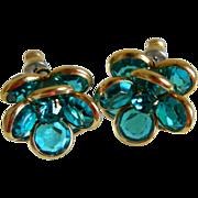 Pretty Blue Crystal Pierced Earrings