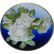 Exquisite Rosenthal, Bavaria,  White Rose Hand Painted Plate, Artist Signed,   Early 1900's