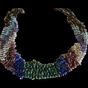 Beautiful Vintage Gem Stone Five Stranded Necklace