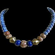 Vintage Beaded Necklace, Lapis, Jasper, Sodalite and Brass