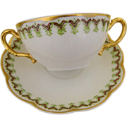 Haviland Limoges, Set of 8 Bouillon or Cream Soup Cups and Saucers,1889 -1931