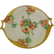Josephine Hutschenreuther, Hand Painted,Artist Signed, H. Russell, Cake Plate, Bavaria, 1890 -