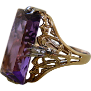 Art Deco, 18k Yellow and White Gold Amethyst Ring, Size 5 1/2