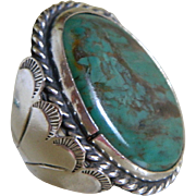 SALE Vintage Navajo Hand Crafted Heavy Sterling Silver  Ring with Turquoise