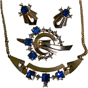 SALE Art Deco Style, Gold Tone with Blue and Clear Rhinestone  Necklace, Brooch, and Earrings