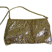 SALE Vintage Whiting & Davis Gold Mesh Purse with Shoulder Strap, 1970's - 1980's