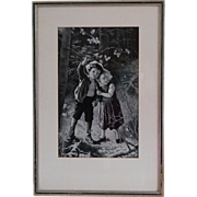 SALE PENDING Framed French Woven Silk Picture, Neyret Freres, Lost in the Woods