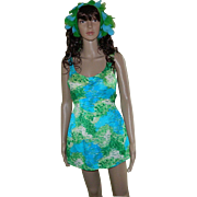 1960's Sirena Nylon and Spandex Swimsuit with Scarf