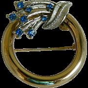 SALE Vintage Circle Pin with Blue Rhinestones