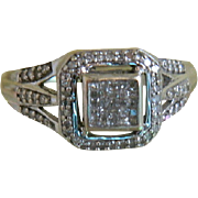 SALE Vintage Art Deco Style 10k White Gold Ring with Diamonds, Size 7 3/4