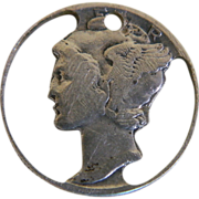 SOLD Silver Mercury Dime Charm