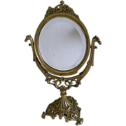SOLD Victorian Brass Vanity Swivel Mirror With Beveled Glass