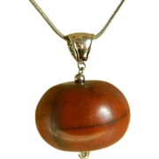 African  Copal Trading Bead Pendant on Sterling Silver Chain