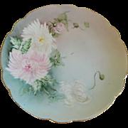 P M de M Limoges, France. Signed, Hand Painted, Chrysanthemum Plate, 1908 -1914