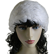 White Feathered Women's Hat, Asti, La Plume, 1960's
