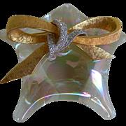 SALE Vintage Krementz 14k Gold Overlay Bow Brooch with Clear Rhinestones, 1960's