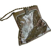 SALE Vintage Whiting and Davis Silver Tone Mesh Purse with Rhinestone Clasp