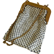 SALE Vintage Whiting and Davis Cream Colored Mesh Purse with Gold Trim