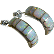 Vintage Sterling Silver Pierced Earrings with Created Opals