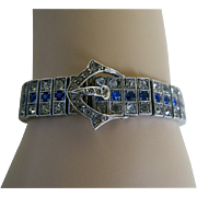 SALE Wachenheimer Brothers Diamonbar Sterling Silver Buckle Bracelet, 1917
