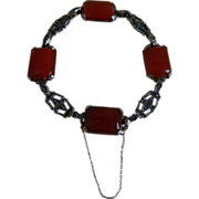 Sterling Silver Bracelet with Marcasites and Natural Carnelian Stones