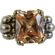 Vintage Sterling Silver Ring with Champagne Topaz Stone, Size 5 3/4
