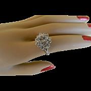 14k White Gold White Topaz Cocktail Ring, Size 6