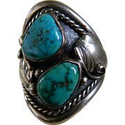 SALE Vintage Hand Crafted Signed Native American Turquoise and Sterling Silver Ring