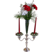 SOLD Vintage Crown Sterling Silver Candelabra with Etched Cone Shaped Center Vase