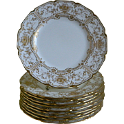 SALE Set of 10, Royal Doulton, England Gold Encrusted Plates, Made for Marshall - Field & Co .