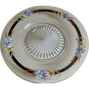 Clear Glass Plate with Painted Enamel Design