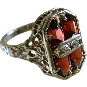 SALE 14K White Gold Very Detailed Filigree Red Garnet Ring with Two Small Diamonds, JJ ...