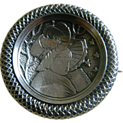 SALE Antique Girl with Flag 800 Silver Victorian Brooch