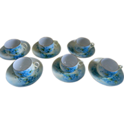 Forget - Me - Not Cups and Saucers  12 Piece Set, Austria, Early 1900's