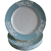 SALE Vintage Spode, England Bone China Plates, Blue Rim with Raised White Flowers, Set of 6