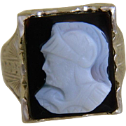 10k White Gold Ring with Carved Onyx Cameo,  Size 4 3/4, 1920 -1930's