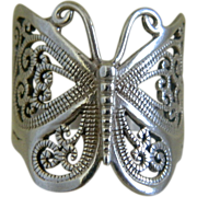 SOLD Vintage Sterling Silver Butterfly Ring Size 9 1/2