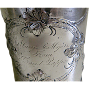 SALE Very Early Antique Rogers Bros Engraved Repousse Silver Plated Cup