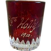 SOLD 1910 Souvenir Red and Clear Shot Glass or Tooth Pick Holder