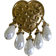 SALE Vintage Heart Shaped Brooch with Hanging Faux Pearl Beads