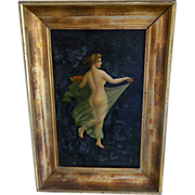 Framed Oil Painting of Nude Woman with Veil