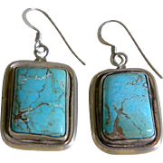 Sterling Silver and Turquoise Pierced Earrings, Vintage